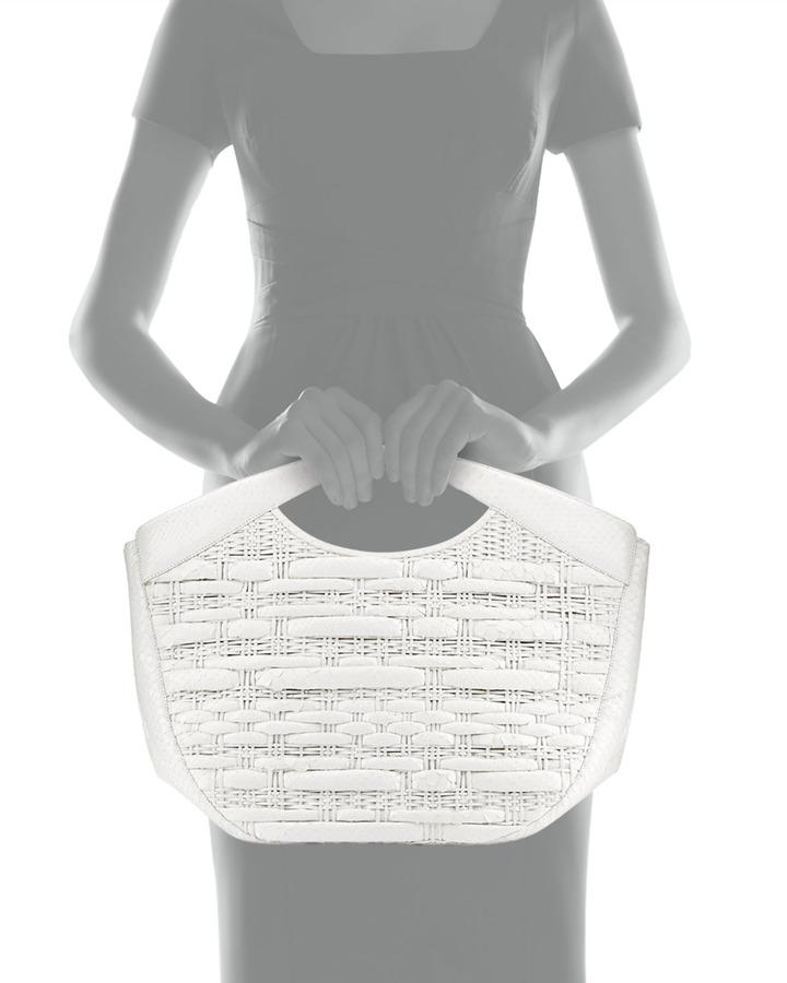 Nancy Gonzalez Nancy-Like Woven Python Tote Bag, White