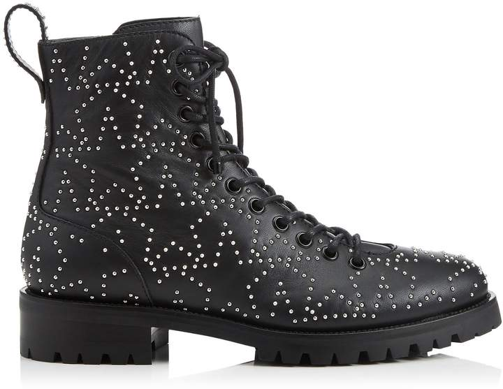 b192850629750 CRUZ FLAT Black and Silver Star Leather Combat Boot with Mini Studs