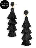 BaubleBar Gabriela Stud Tassel Earrings-Black