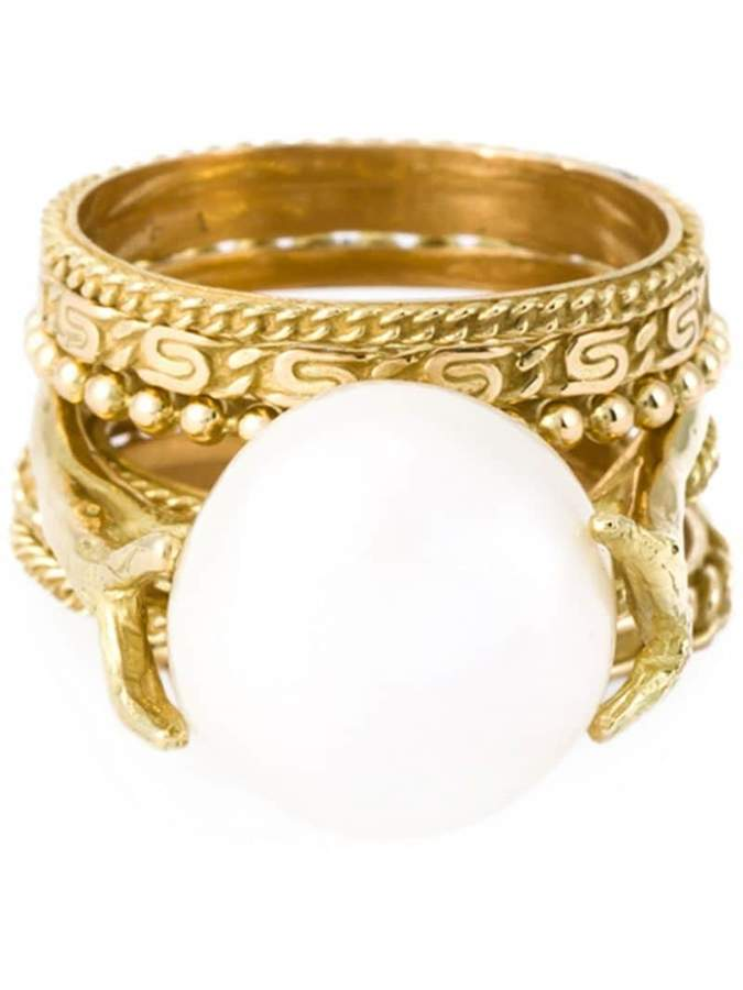 Wouters & Hendrix Gold pearl set of rings