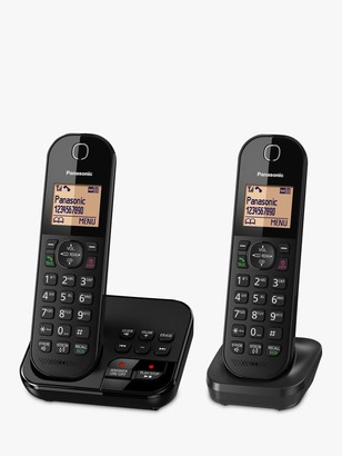 Panasonic KX-TGC422EB Digital Cordless Telephone with 1.6 Backlit LCD Screen, Nuisance Call Blocker & Answering Machine, Twin DECT