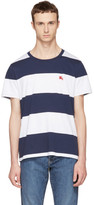 Burberry Navy and White Large Stripe Logo T-shirt