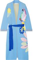 Mira Mikati Appliquéd Cotton-jacquard Robe - Sky blue