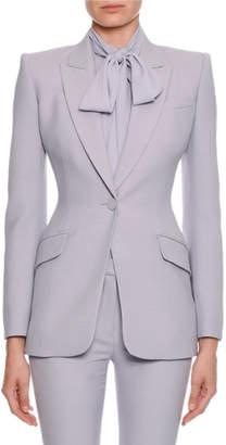 Alexander McQueen Fitted Flap-Pocket Wool-Silk Blazer
