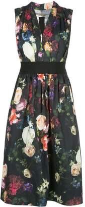 ADAM by Adam Lippes Sleeveless Gathered Floral Midi Dress