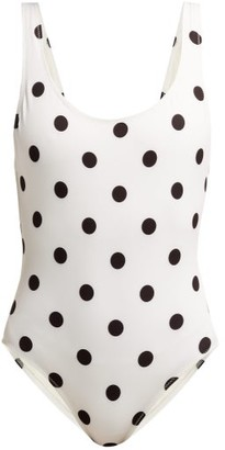 Solid & Striped The Anne-marie Polka-dot Swimsuit - White Black