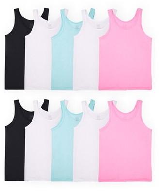 Fruit of the Loom Girls' Undershirts, Assorted Layering Tanks, 10 Pack (Little Girls & Big Girls)