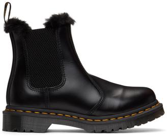 Dr. Martens Black 2976 Leonore Faux Fur Lined Chelsea Boots