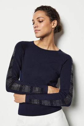 Karen Millen Crystal Sleeve Knit Jumper