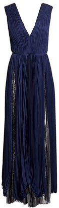 BURNETT NEW YORK Pleated Silk Chiffon Layered Gown