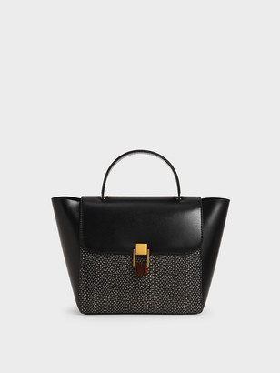 Charles & Keith Snake Print Stone-Embellished Trapeze Bag