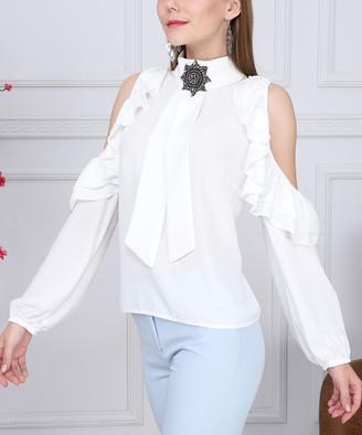 New Laviva Women's Blouses White - White Ruffle Cutout Mock Neck Top - Women