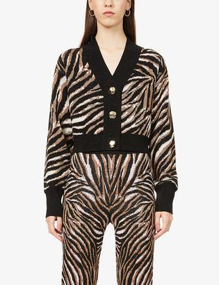 ART DEALER Metallic jacquard-pattern wool-blend cardigan
