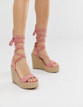 Glamorous blush espadrille wedge sandals