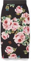 Dolce & Gabbana Floral-print Stretch-silk Charmeuse Midi Skirt