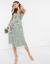 Maya all over floral embellished midi dress in sage green