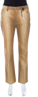 Roberto Cavalli Brown Shimmer Denim Flared Jeans L