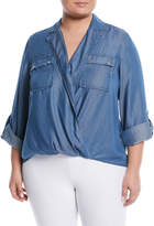 MICHAEL Michael Kors Safari Draped Chambray Blouse, Plus Size