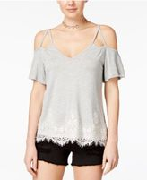 Belle Du Jour Juniors' Lace-Trim Cold-Shoulder Top