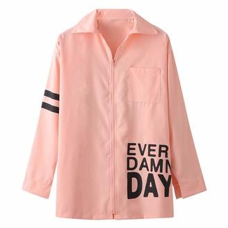 Lazzboy Women Jacket Coat Hoodie Solid Striped Slogan Letters Print Casual Loose Zipper Fashion Sweatshirt Jumper Cardigan Outwear (L(14)