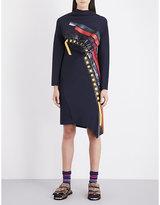 Martina Spetlova Leather-trim draped neoprene dress