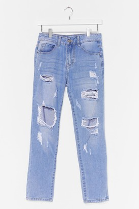 Nasty Gal Womens Distress Foot Forward Slouch Jeans - Blue - S, Blue