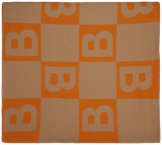 Burberry Orange Logo Blanket Scarf