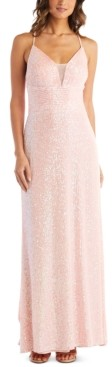 Morgan & Company Juniors' Sequined Mesh-Inset Gown