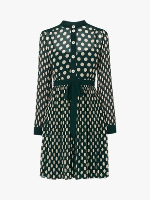 LK Bennett Cora Spot Print Dress, Green/Cream