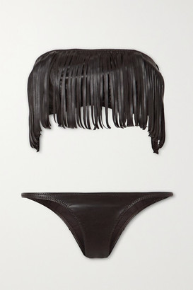 Lisa Marie Fernandez + Net Sustain Fringed Vegan Leather Bandeau Bikini - Brown