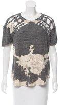 Isabel Marant Printed Fringe-Trimmed T-Shirt