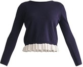 Paisie Cropped Top With Contrasting Ruffle Hem In Navy & White