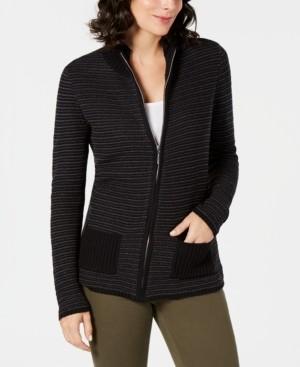 Karen Scott Petite Textured Zip-Front Cardigan, Created for Macy's