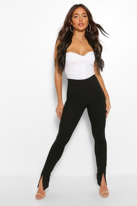 boohoo Split Front Stretch High Waisted Trousers