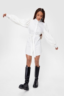 Nasty Gal Womens Puff Sleeve Belted Mini Shirt Dress - White