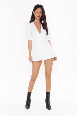 Nasty Gal Womens Come With V Button-Down Puff Sleeve Romper - White