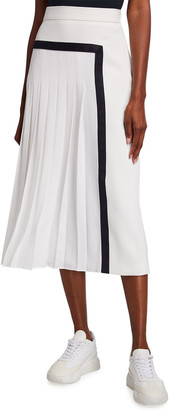 Max Mara Pinne Contrast-Trim Box Pleated Midi Skirt