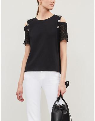 Claudie Pierlot Lace-shoulder cotton T-shirt