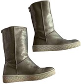 Moncler Silver Leather Ankle boots