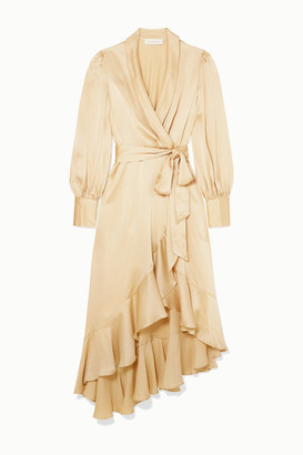 Zimmermann Super Eight Ruffled Silk Wrap Midi Dress - Cream