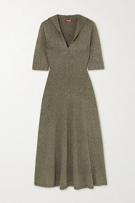 STAUD Breck Metallic Knitted Dress - Army green