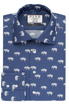 Thomas Pink Elephant Print Slim Fit Button Cuff Shirt