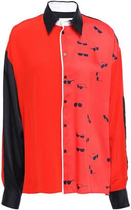 Victoria Victoria Beckham Printed Color-block Twill Shirt