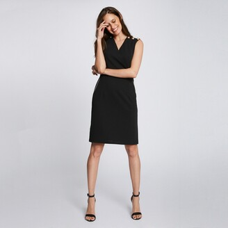 Morgan Sleeveless V-Neck Dress with Buttoned Shoulders