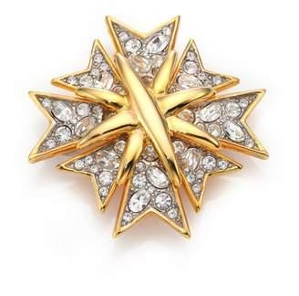 Kenneth Jay Lane Multi Cross Crystal & 22K Golplated Pin
