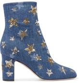 Valentino Embellished Denim Ankle Boots - Mid denim