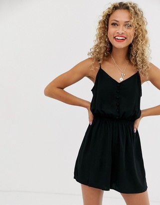 New Look button down playsuit in black