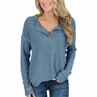 Semen Women Long Sleeve Henley Shirts Basic Button Blouse Tops Casual Pullover Tunic Shirts Blue