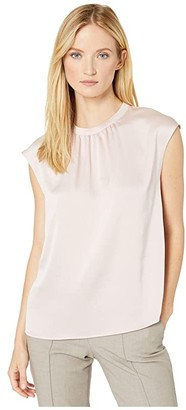 Vince Camuto Extend Shoulder Hammer Satin Mock Neck Blouse (Soft Pink) Women's Clothing