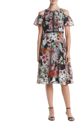 Gabby Skye Women's Floral Cold Shoulder Dress